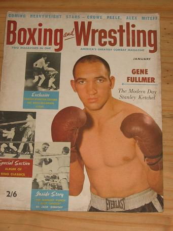 BOXING WRESTLING MAG JAN 1957 VOL 5 NO 3 VINTAGE FIGHT PUBLICATION FOR SALE CLASSIC SPORTING IMAGES