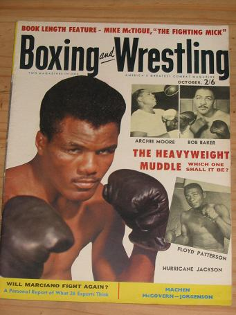 BOXING WRESTLING MAG OCT 1956 VOL 4 NO 12 VINTAGE FIGHT PUBLICATION FOR SALE CLASSIC SPORTING IMAGE