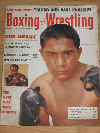 BOXING WRESTLING MAG JAN 1955 VOL 3 NO 4 VINTAGE FIGHT PUBLICATION FOR SALE CLASSIC IMAGES OF THE TW