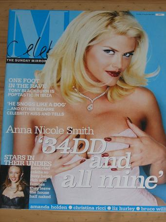 ANNA NICOLE SMITH 2002 SUNDAY MIRROR MAG 15 SEP VINTAGE PUBLICATION FOR SALE CLASSIC IMAGES OF THE 2
