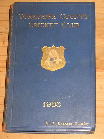 1933 YORKSHIRE COUNTY CRICKET CLUB 41ST ANNUAL ISSUE COLLECTABLE SPORTS BOOK FOR SALE PURE NOSTALGIA