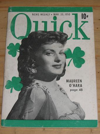 MAUREEN O'HARA QUICK MAG MARCH 1950 VINTAGE POCKET NEWS WEEKLY FOR SALE CLASSIC IMAGES OF THE TWENTI