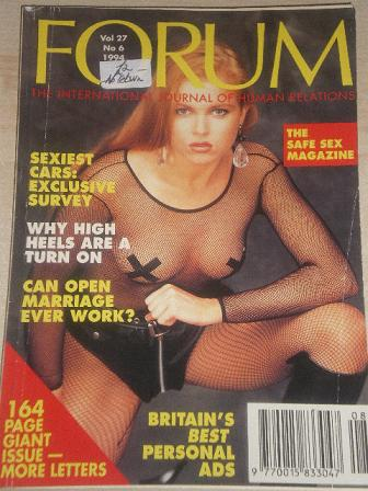 FORUM magazine, Volume 27 Number 6 1994 issue for sale. Original British adult publication from Till