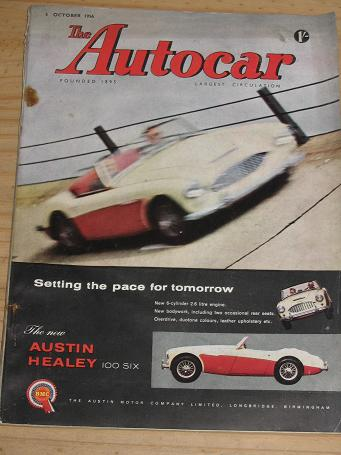 AUTOCAR magazine 5 October 1956. AUSTIN HEALEY. Vintage MOTORING publication for sale. Classic image