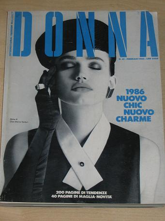 DONNA magazine February 1986. Scarce vintage WOMENS FASHION, style publication for sale. Classic ima
