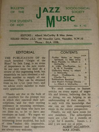 JAZZ MUSIC bulletin, Number 4 / 43 for sale. 1943 JAZZ SOCIOLOGICAL SOCIETY publication. Scarce publ