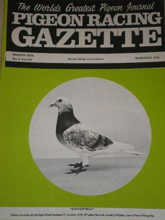 PIGEON RACING GAZETTE, March 1979 issue for sale. Original publication from Tilleys, Chesterfield, D