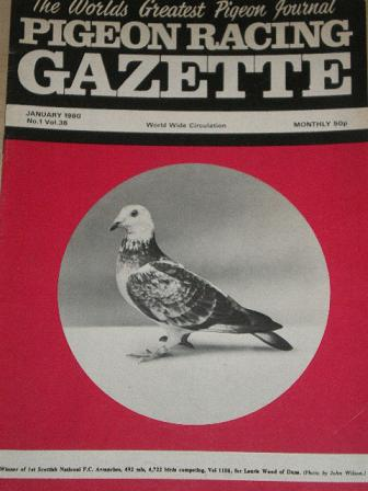 PIGEON RACING GAZETTE, January 1980 issue for sale. Original publication from Tilleys, Chesterfield,