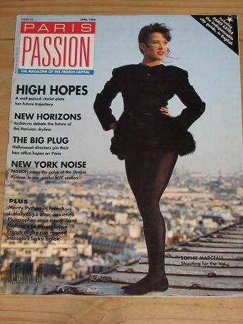 PARIS PASSION MAGAZINE APRIL 1990 BACK ISSUE FOR SALE SOPHIE MARCEAU VINTAGE PUBLICATION PURE NOSTAL