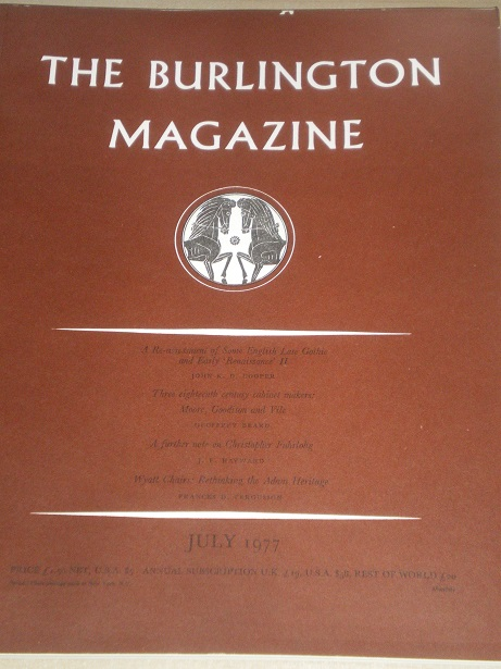 THE BURLINGTON MAGAZINE, July 1977 issue for sale. FINE ART, DECORATIVE ART. Original British academ