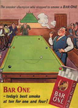 SNOOKER ORIG 1952 MAG AD BAR ONE CIGARETTES