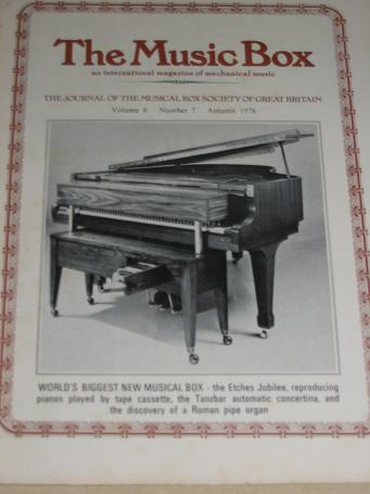 The MUSIC BOX magazine, Volume 8 Number 7 issue for sale, Autumn 1978. Vintage MECHANICAL MUSIC INST