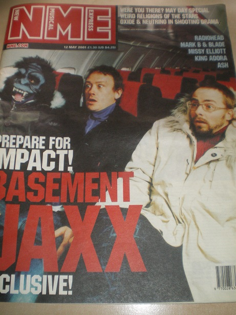 NME music paper, 12 May 2001 issue for sale. BASEMENT JAXX, RADIOHEAD, ASH. Original British publica