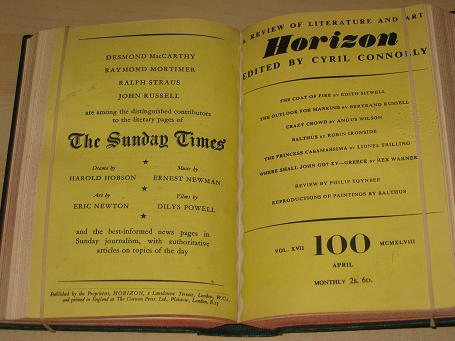 HORIZON magazine, Volume 17, January, February, March, April, May, June 1948 issues for sale. RUSSEL