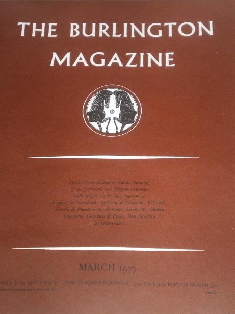 THE BURLINGTON MAGAZINE, March 1977 issue for sale. FINE ART, DECORATIVE ART. Original British acade