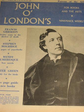 JOHN O LONDONS magazine, 21 June 1962. STONE, WILDE. Vintage British LITERARY publication. Classic i