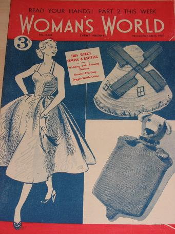 WOMANS WORLD magazine, November 22 1952 issue for sale. KNITTING, FICTION, COOKERY, FASHION, HOME. V