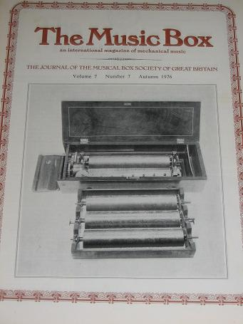 The MUSIC BOX magazine, Volume 7 Number 7 issue for sale, Autumn 1976. Vintage MECHANICAL MUSIC INST