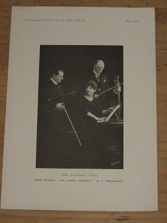 ORIGINAL 1923 STRAD MAGAZINE SUPPLEMENT PHOTO LONDON TRIO FOR SALE PURE NOSTALGIA ARCHIVES CLASSIC I
