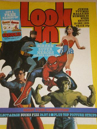 LOOK-IN magazine, 19 September 1981 issue for sale. SUPER HEROES. Original gifts from Tilleys, Chest
