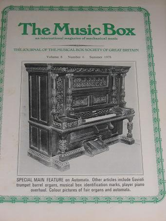 The MUSIC BOX magazine, Volume 8 Number 6 issue for sale, Summer 1978. Vintage MECHANICAL MUSIC INST