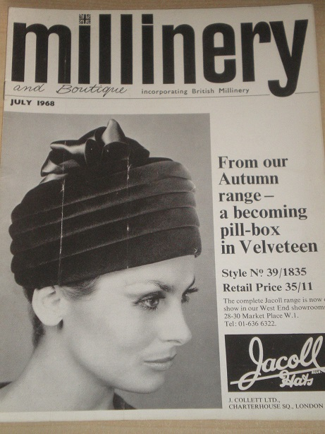 MILLINERY AND BOUTIQUE magazine, July 1968 issue for sale. HATS, FASHION. Original BRITISH publicati