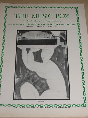 The MUSIC BOX magazine, Volume 10 Number 6 issue for sale, Summer 1982. Vintage MECHANICAL MUSIC INS