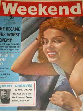 WEEKEND magazine, November 15 - 19 1961 issue for sale. ABBE LANE. Original British publication from