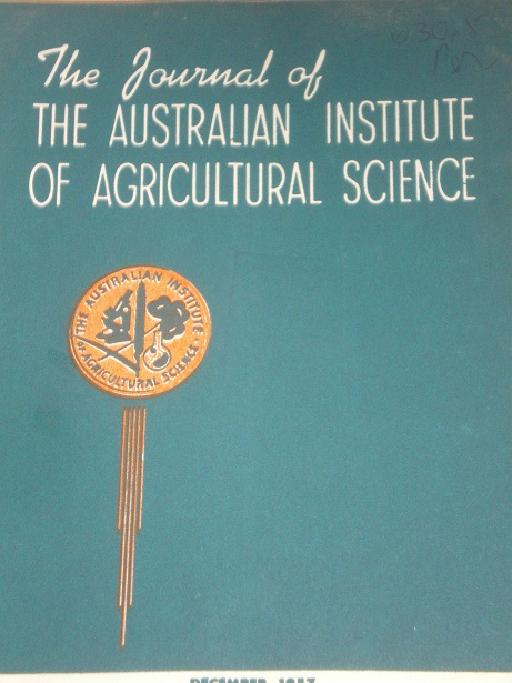 THE JOURNAL OF THE AUSTRALIAN INSTITUTE OF AGRICULTURAL SCIENCE, December 1957 issue for sale. Origi