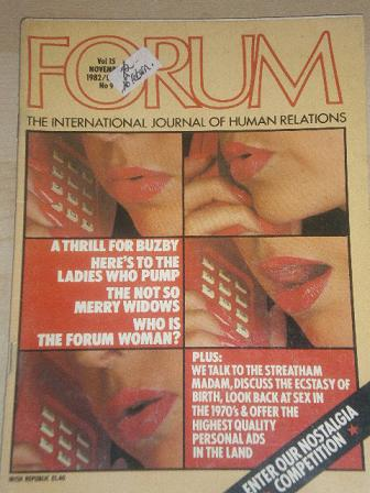 FORUM magazine, November 1982 issue for sale. Original British adult publication from Tilley, Cheste