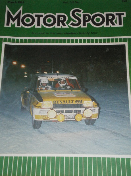 MOTOR SPORT magazine, March 1981 issue for sale. Original British publication from Tilley, Chesterfi