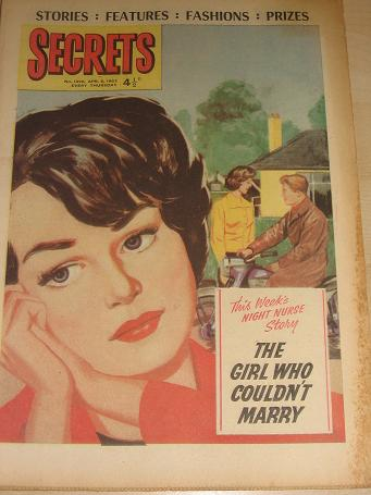 SECRETS magazine, April 6 1963 issue for sale. ROMANTIC FICTION. Birthday gifts from Tilleys, Cheste
