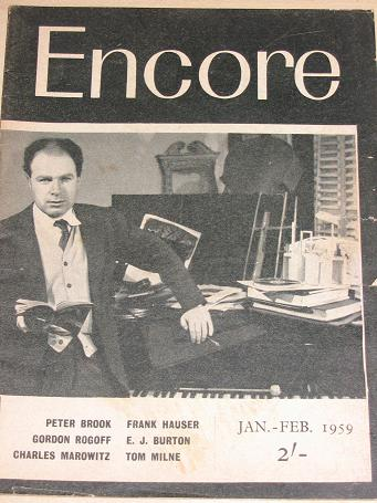 ENCORE magazine, January - February 1959 issue for sale. BROOK. Vintage THEATRE publication. Classic
