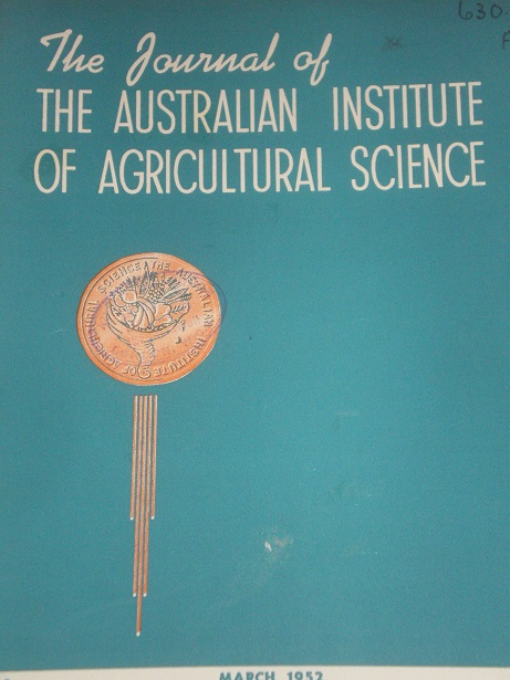THE JOURNAL OF THE AUSTRALIAN INSTITUTE OF AGRICULTURAL SCIENCE, March 1952 issue for sale. Original