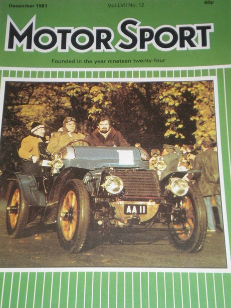 MOTOR SPORT magazine, December 1981 issue for sale. Original British publication from Tilley, Cheste