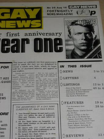 GAY NEWS magazine, August 16 1984 issue for sale. TILLEYS, Chesterfield, Derbyshire, UK, long establ