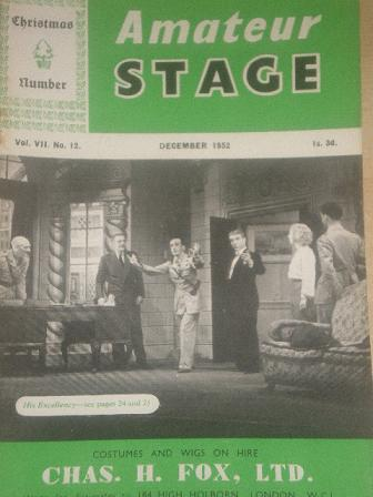 The AMATEUR STAGE magazine, December 1952 issue for sale. STAGECRAFT, NEWS, VIEWS, COMING EVENTS, NE