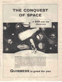 ORIG 1958 GUINNESS MAG AD GE2878H CONQUEST OF SPACE