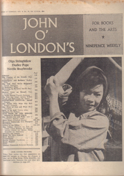 JOHN O LONDON'S MAG 18 AUG 1960 DUDLEY POPE VINTAGE PUBLICATION FOR SALE