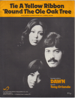 DAWN TONY ORLANDO YELLOW RIBBON 1970S/80S ORIGINAL VINTAGE SHEET MUSIC FOR SALE PURE NOSTALGIA ARCHI