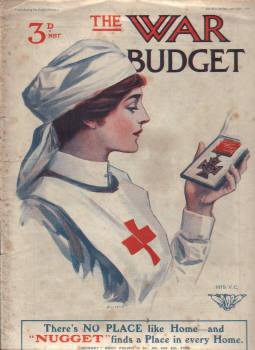 WAR BUDGET AP 6 1916 VC RED CROSS NURSE WW1